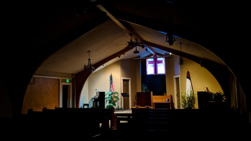 Photo: The sanctuary, with the stage lit